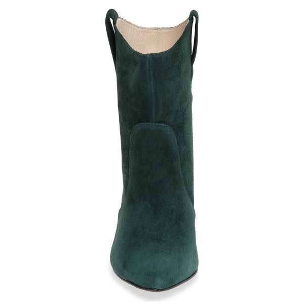 Green Almond Toe Chunky Heel Boots Vintage Ankle Booties image 5