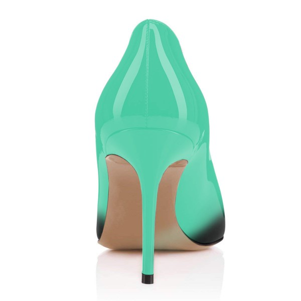 On Sale Green and Black Gradient Stiletto Heels Round Toe Pumps image 2