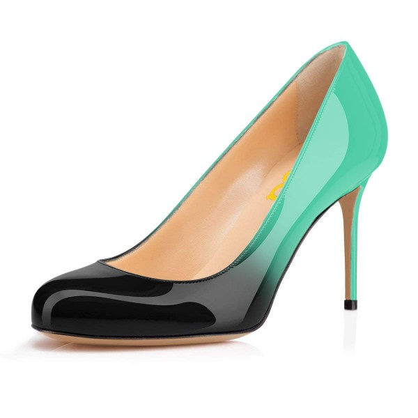 On Sale Green and Black Gradient Stiletto Heels Round Toe Pumps image 1