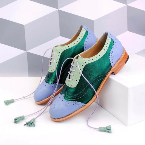 Green and Blue Wingtip Women's Oxfords Lace up Flat Tassels Brogues image 1