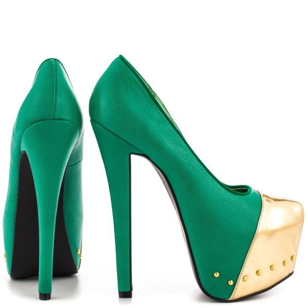 Fashion Green And Gold Dress Shoes High Heel Platform Pumps FSJ Shoes image 5