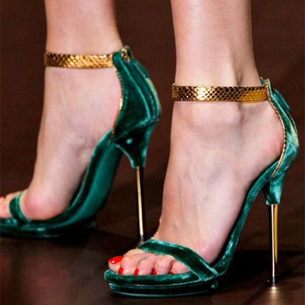 Green Velvet Heels Stiletto Heels Gold Python Ankle Strap Sandals image 1