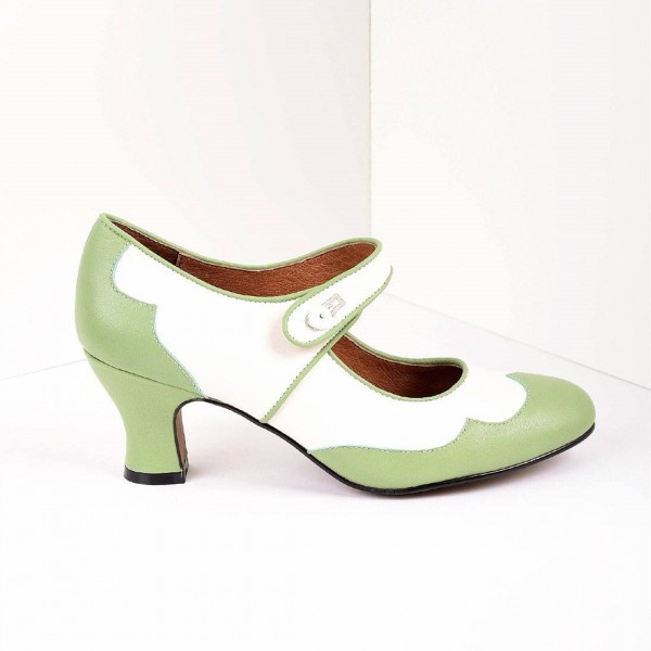 Green and White Mary Jane Heels Vintage Style Chunky Heel Pumps image 2