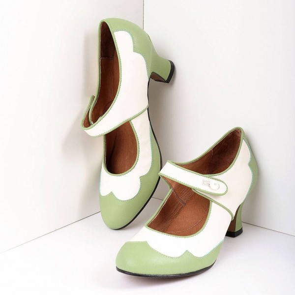 Green and White Mary Jane Heels Vintage Style Chunky Heel Pumps image 1