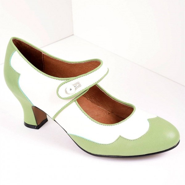 Green and White Mary Jane Heels Vintage Style Chunky Heel Pumps image 5