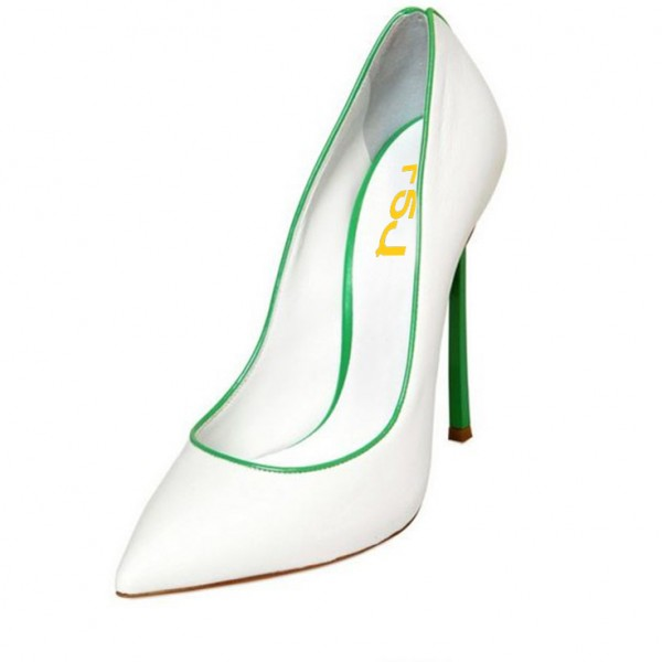 White and Green 5 Inches Stiletto Heels Pointy Toe Office Heels Pumps image 4