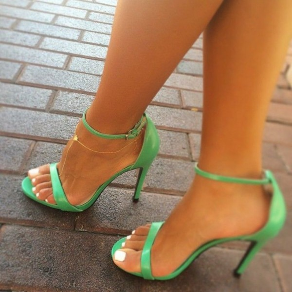 Green Ankle Strap Sandals Open Toe Stiletto Heels for Women image 1
