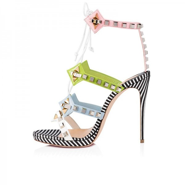 Green Blue and Pink Studs Stiletto Heel Lace up Sandals image 2