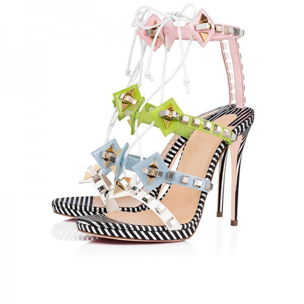 Green Blue and Pink Studs Stiletto Heel Lace up Sandals image 1