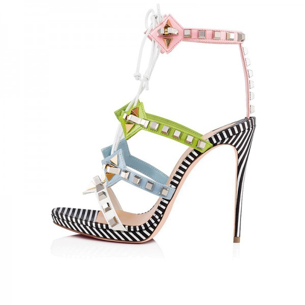 Green Blue and Pink Studs Stiletto Heel Lace up Sandals image 3