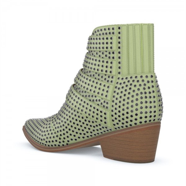 Green Buckles Studs Fashion Boots Block Heel Ankle Boots image 2