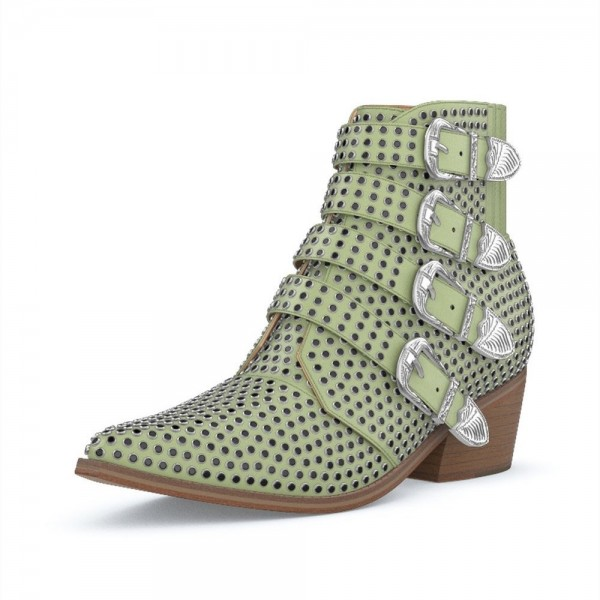 Green Buckles Studs Fashion Boots Block Heel Ankle Boots image 1