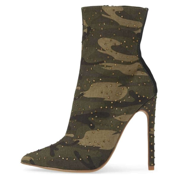 Green Camouflage Fashion Boots Rhinestone Stiletto Heel Ankle Boots image 2