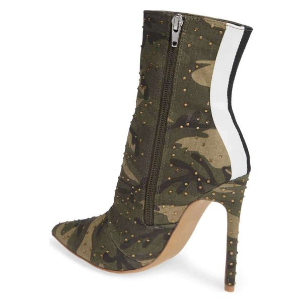 Green Camouflage Fashion Boots Rhinestone Stiletto Heel Ankle Boots image 3