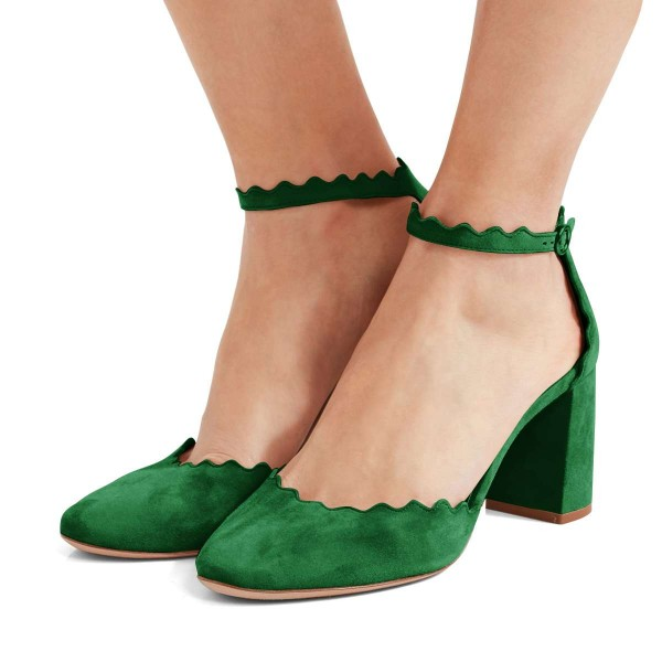 Green Closed Toe Sandals Suede Wave Style Ankle Strap Chunky Heels image 1