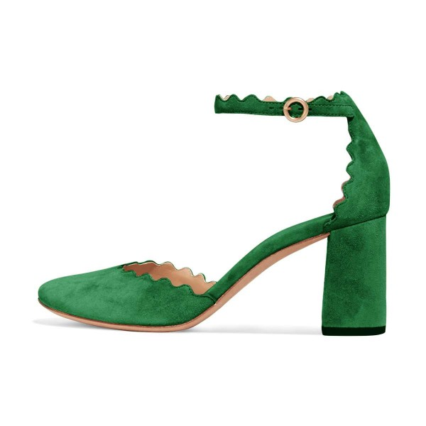 Green Closed Toe Sandals Suede Wave Style Ankle Strap Chunky Heels image 2