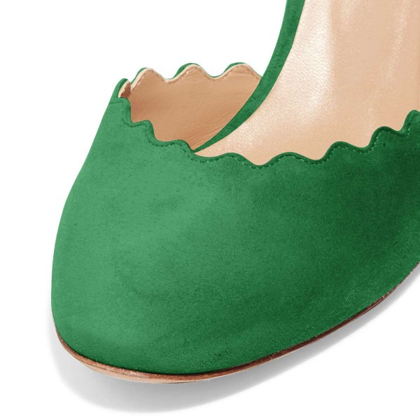 Green Closed Toe Sandals Suede Wave Style Ankle Strap Chunky Heels image 4