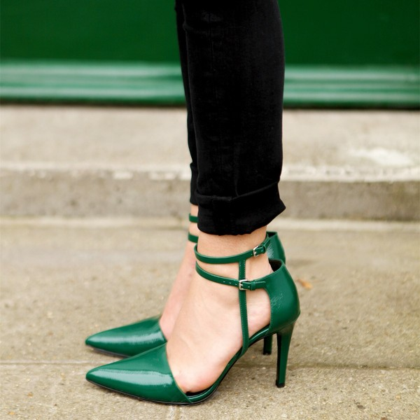 Women's Green Vintage Ankle Strap Heels Pointed Toe Pumps image 1