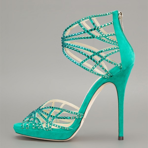 Green Evening Shoes Rhinestone Open Toe Stiletto Heels Sandals image 1