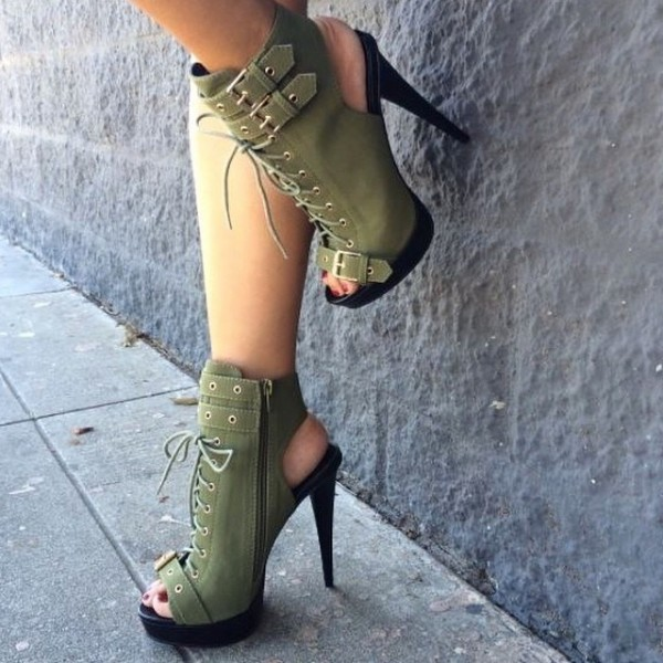 Green Lace up Boots Peep Toe Platform Slingback Shoes with Buckles image 1
