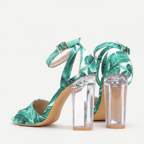 Green Floral Peep Toe Ankle Strap Clear Chunky Heel Sandals image 3