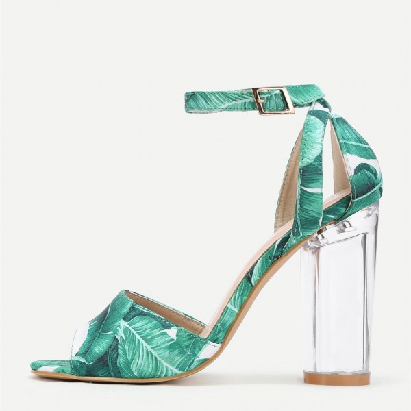 Green Floral Peep Toe Ankle Strap Clear Chunky Heel Sandals image 2