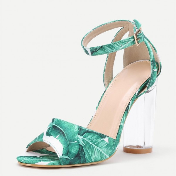 Green Floral Peep Toe Ankle Strap Clear Chunky Heel Sandals image 4