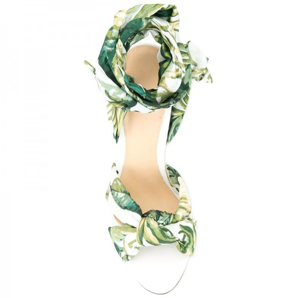Green Floral Satin Ankle Wrapped Stiletto Heel Sandals image 3
