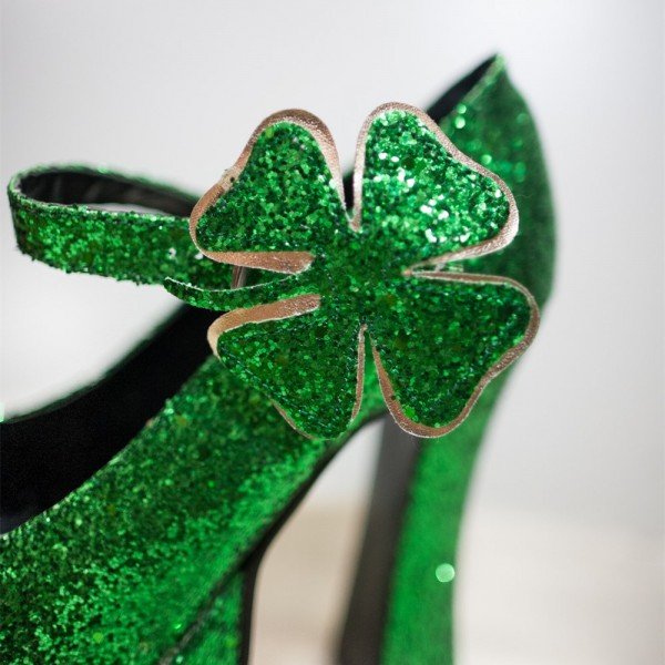 Women's Green Glitter Platform Heels Fashion Flower Buckle Pumps   image 2