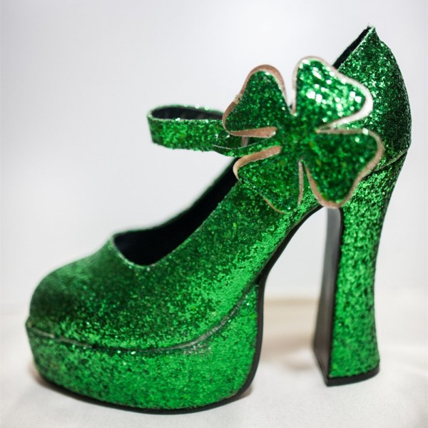 Women's Green Glitter Platform Heels Fashion Flower Buckle Pumps   image 5