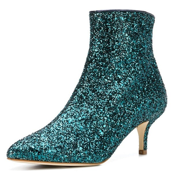 Green Glitter Kitten Heel Ankle Booties image 1