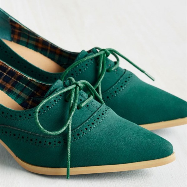 Green Lace Up Heels Pointy Toe Vintage Shoes Cone Heel Pumps image 3