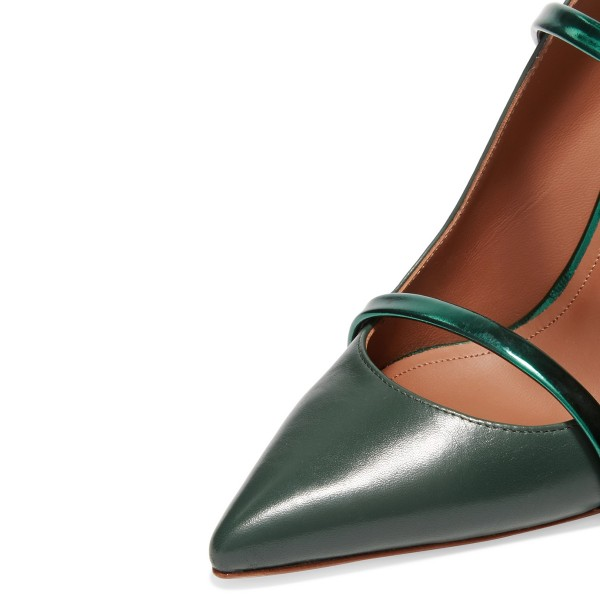 Green Heels Pointy Toe Stiletto Heel Mules for Office Ladies image 3