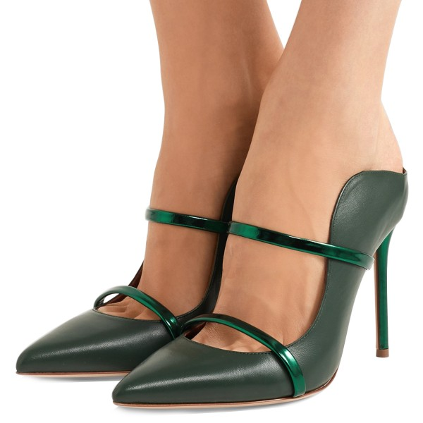 Green Heels Pointy Toe Stiletto Heel Mules for Office Ladies image 1