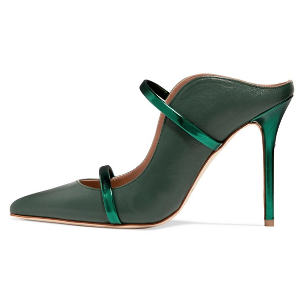 Green Heels Pointy Toe Stiletto Heel Mules for Office Ladies image 4