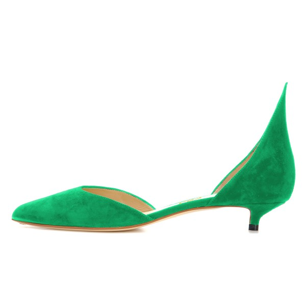 Green Kitten Heels Pointy Toe Pumps Suede Shoes image 2