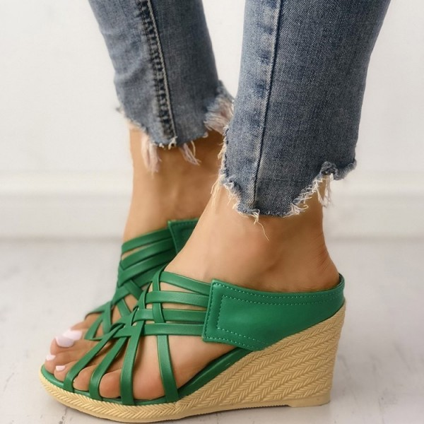 25cbfdc9c913 Green Wedge Sandals Open Toe Woven Fashion Mules Sandals US Size 3-15 image  1 ...