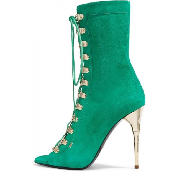Green Lace Up  Boots Stiletto Heels Mid-calf Booties image 1
