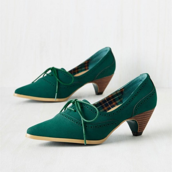 Green Lace Up Heels Pointy Toe Vintage Shoes Cone Heel Pumps image 1