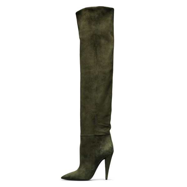 Green long Boots Pointy Toe Cone Heel Over-the-Knee Boots image 1