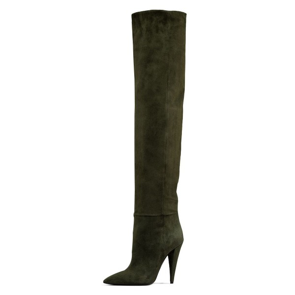 Green long Boots Pointy Toe Cone Heel Over-the-Knee Boots image 2