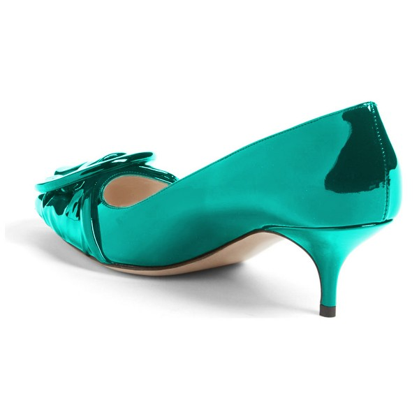 Teal Mirror Leather Pointy Toe Kitten Heels Pumps with Buckle image 3