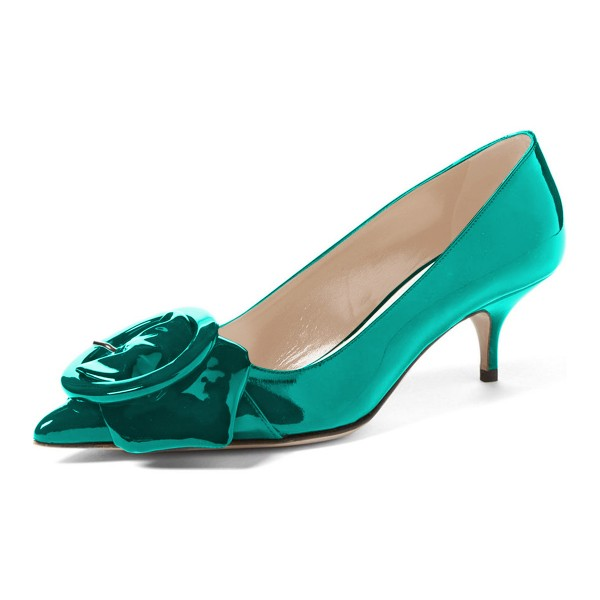 Teal Mirror Leather Pointy Toe Kitten Heels Pumps with Buckle image 1