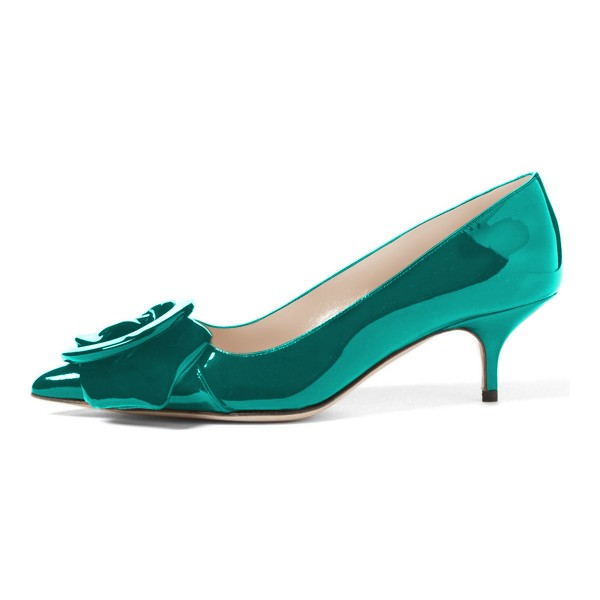 Teal Mirror Leather Pointy Toe Kitten Heels Pumps with Buckle image 2