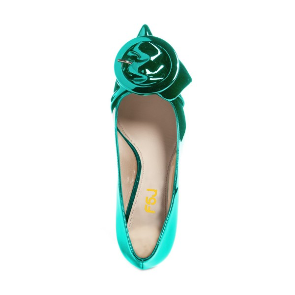 Teal Mirror Leather Pointy Toe Kitten Heels Pumps with Buckle image 4