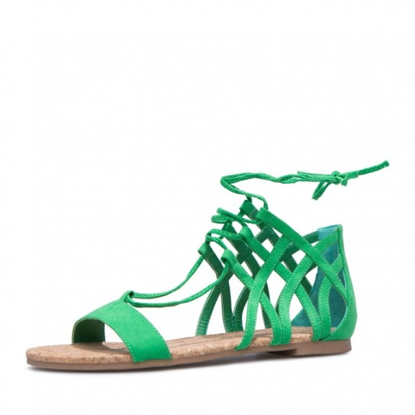 a96b544ca2734 Green Flat Sandals Open Toe Suede Front Lace up Sandals for School ...