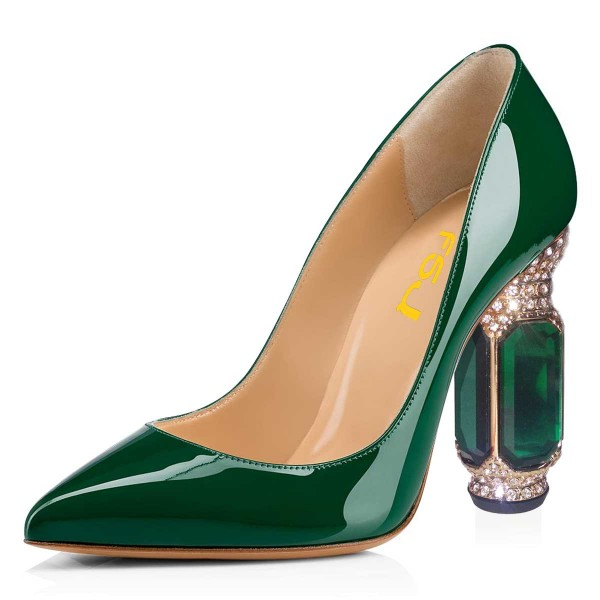 Green Patent Leather Office Heels Rhinestone Chunky Heel Pumps image 1