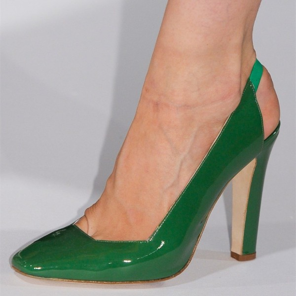 Green Patent Leather Slingback Heels Square Toe Chunky