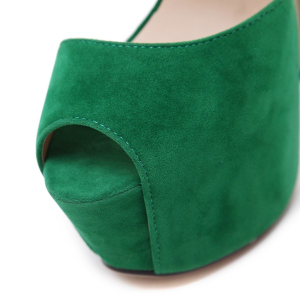 Green Platform Sandals Peep Toe Ankle Strap High Heels Shoes image 3