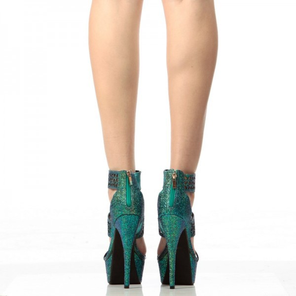 Green Platform Sandals Hollow out Open Toe High Heel Shoes image 4